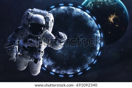 Star gate, science fiction image, dark deep space with giant planets, hot stars, starfields. Incredibly beautiful cosmic landscape . Elements of this image furnished by NASA