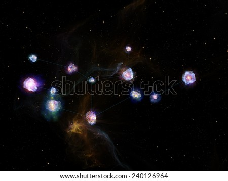 Star Glow series. Artistic background made of fractal elements, constellation lines and lights for use with projects on Universe, cosmos, astronomy, astrology and education - stock photo