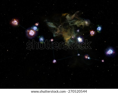 Star Glow series. Composition of fractal elements, constellation lines and lights suitable as a backdrop for the projects on Universe, cosmos, astronomy, astrology and education - stock photo