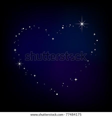 Star heart in night sky - stock photo