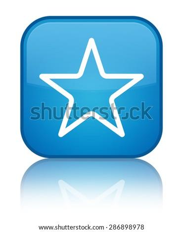 Star icon cyan blue square button - stock photo