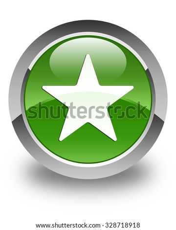 Star icon glossy soft green round button