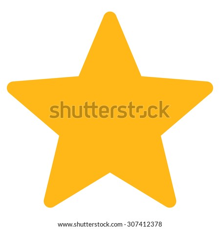 Star icon. Glyph style is flat symbols, yellow color, rounded angles, white background. - stock photo