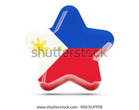 Star icon with flag of philippines. 3D illustration - stock photo