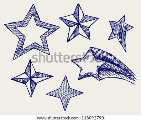 Star icons. Doodle style. Raster - stock photo