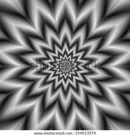 Star in Black and White / A digital abstract fractal image with a fourteen point monochrome star design in black and white. - stock photo