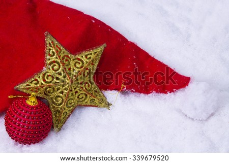 star in the snow - stock photo