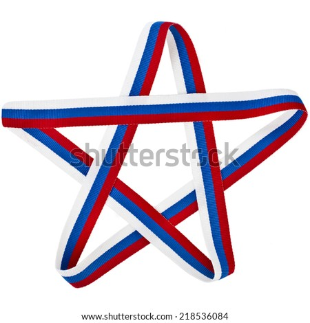 star made of tape ribbon  isolated on a white background - stock photo
