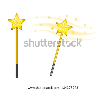 Star magic wand isolated on white background. See also vector version