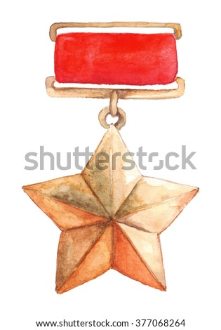 Star medal 9 May The Great Patriotic War isolated - stock photo