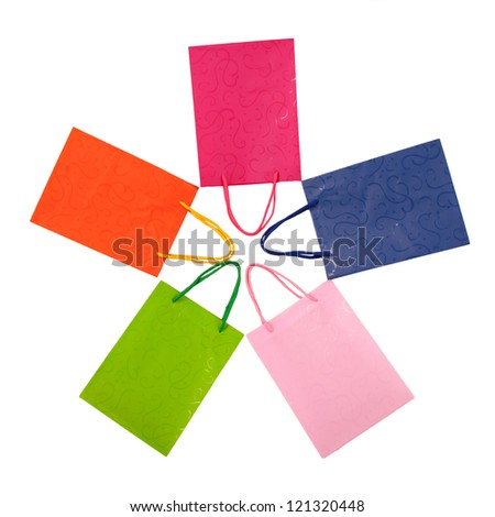 Star of colorful shopping bags.  Isolated on white background - stock photo