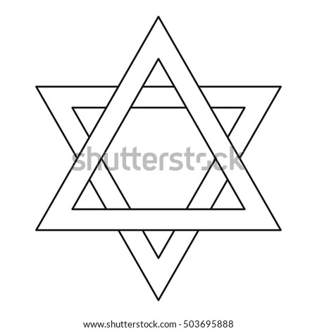 Star of David icon in outline style on a white background  illustration