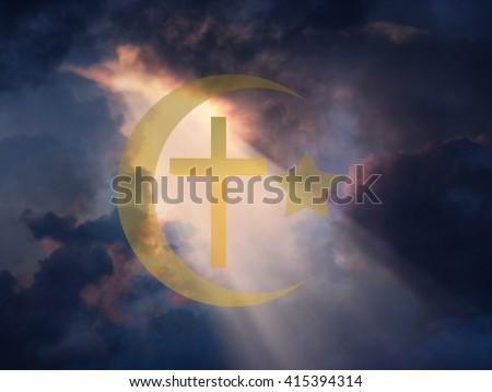 Star of David, Muslim Crescent and Cross 3D Render - stock photo