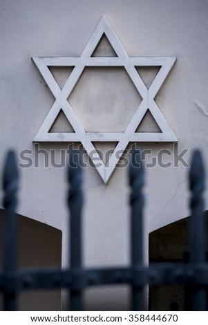 Star of David, symbol of Judaism, the symbol of the Jews. - stock photo