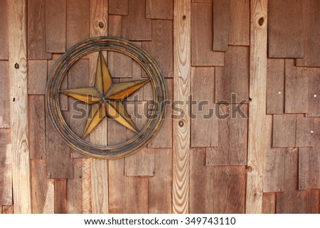 Star on Wood Wall - stock photo