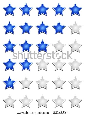 star rating set blue silver - stock photo