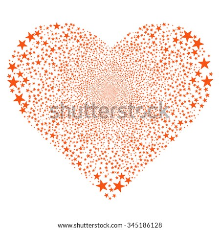Star Salute Heart glyph illustration. Style is orange flat stars, white background.