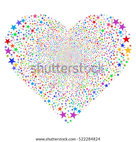 Star Salute Heart raster image. Style is bright multicolored flat stars, white background.