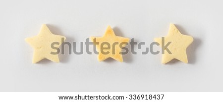 Star shaped cookie on white background