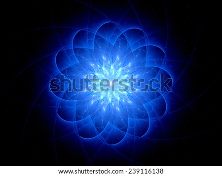 Star shaped glowing object, computer generated abstract background - stock photo