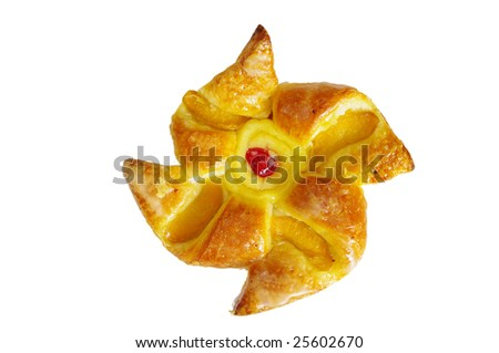 Star-shaped pastry. Isolated on white - stock photo