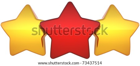 Star shapes three shiny (one red two golden) symbol. Leadership award champion success concept. The best choice vote abstract. This is a detailed render 3d (Hi-Res). Isolated on white background