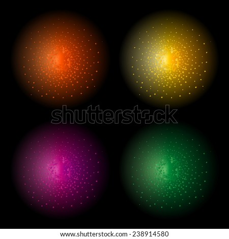 Star shine bright glow light raster effect. Orange, yellow, violet and green colors. Clip art isolated on black - stock photo