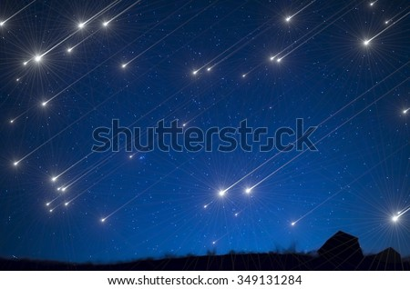 Star shower - stock photo