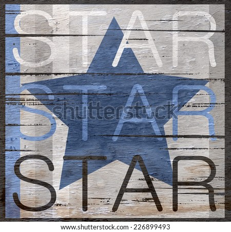 star sign on wood grain texture