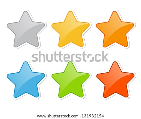 star stickers (raster version of the vector) - stock photo