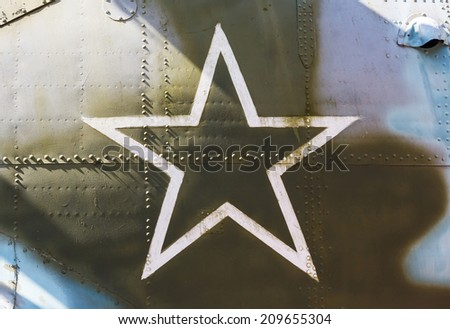 Star, the symbol of Russian Air Force on aircraft, closeup - stock photo