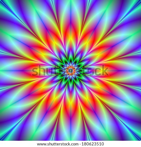 Star Time / Digital abstract fractal image with a twelve pointed star flower design in blue, red, yellow, green.