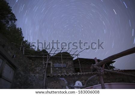 Star trails in Majorca - stock photo