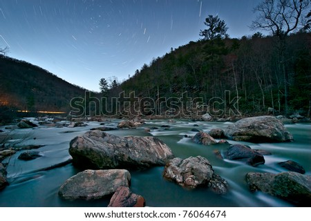 Star trails over Goshen Pass - stock photo
