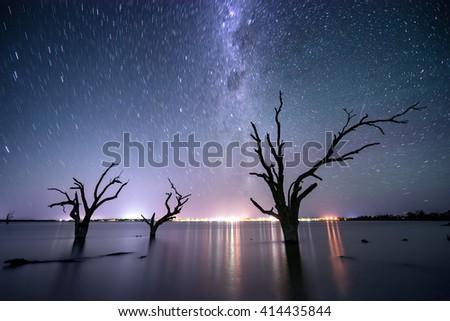 Star trails over Lake Bonney in South Australia - stock photo