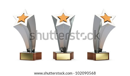 star trophy with a golden plate for custom text isolated on white - stock photo