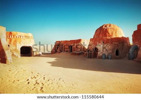 Star wars decoration in Sahara desert - stock photo