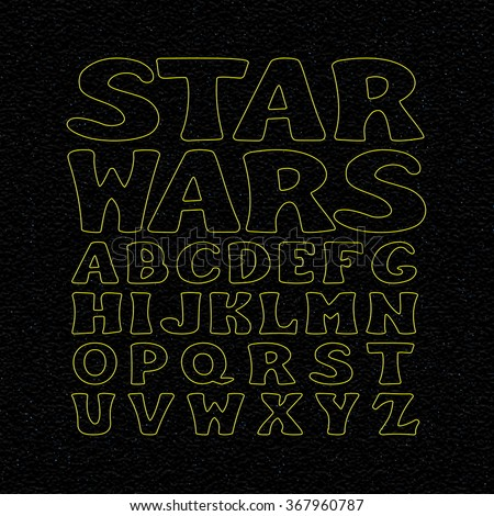 Star Wars Font. Vector Alphabet Set. Letters on Night Sky.