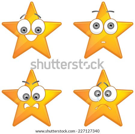 Star with emotions - Illustration - stock photo
