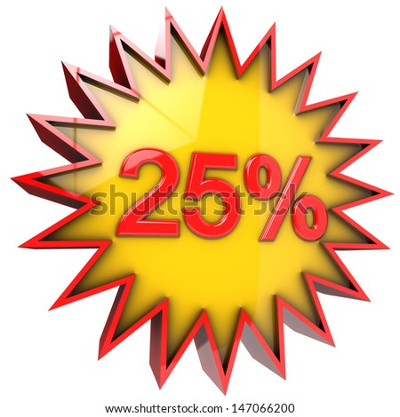 star with five percent discount in 3d isolated with clipping path and alpha channel