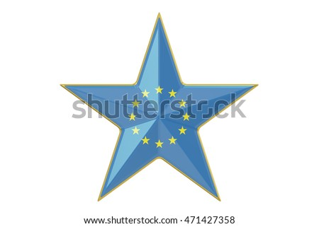 Star with flag of EU, 3D rendering isolated on white background