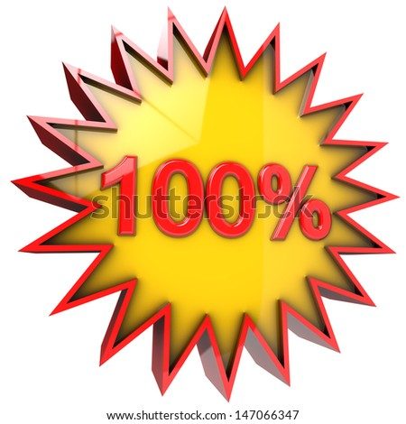 star with one hundred percent discount 3d isolated with clipping path and alpha channel