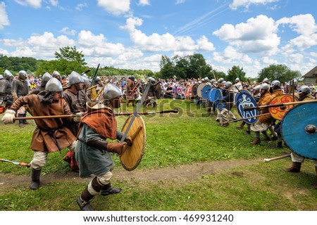 "STARAYA LADOGA, RUSSIA - July 17, 2016: Participants of historic festival  ""Staraya Ladoga - the first capital of Russia"", festival is dedicated to viking combats, competitions and culture."