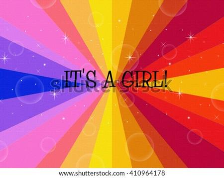 Starburst Greeting - IT'S A GIRL! - stock photo