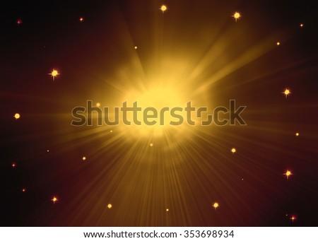 Starburst space travel background - stock photo