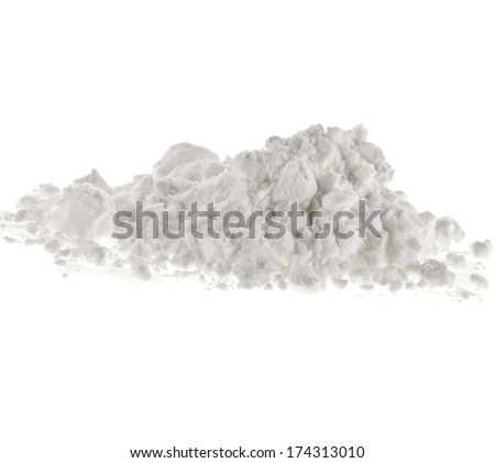 starch heap pile isolated on white background - stock photo