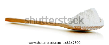 Starch in spoon isolated on white - stock photo