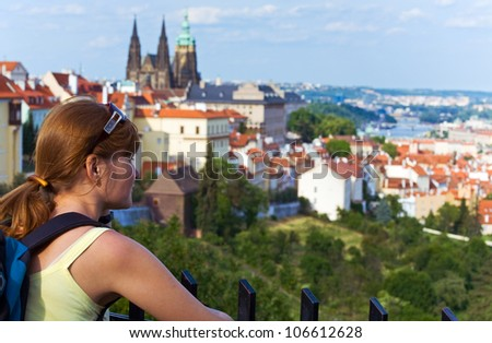 Stare Mesto (Old Town) view, Prague, Czech Republic and woman - stock photo
