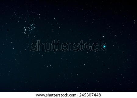 Starfield with Comet Lovejoy and Pleiades, Jan. 17, 2015 in Germany - stock photo