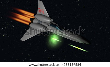 starfighter firing their guns 3D rendering with clipping path - stock photo
